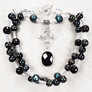 SALE PENDING ESCLARMONDE Necklace Teal Cultured Pearl Midnight-Blue Tiger-Eye Mineral Jet Onyx