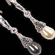 SOLD VENUS At A Mirror Earrings Swarovski White & Black Pearls Silver