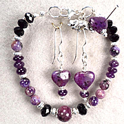 From Russia with Love Set Bracelet Earrings Charoite Sugilite Amethyst Jet Crystal