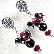MORRIGAN Earrings Antique Victorian British Whitby Jet Garnet Celtic Raven Goddess
