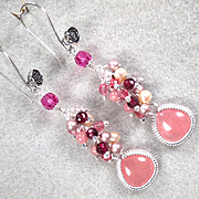 NAHEMA Earrings Strawberry Quartz Glass Rhodochrosite Garnet Cultured Pearl Swarovski Crystal