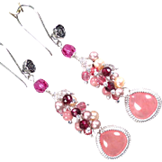 NAHEMA Earrings Strawberry Quartz Glass Rhodochrosite Garnet Cultured Pearl Swarovski Crystal