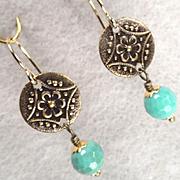 Queen Of Sheba Petite Earrings African Opal Antiqued Hammered Brass Ancient Biblical Queen