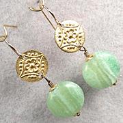 Queen Of Sheba Petite Earrings African Green Hemimorphite Hammered Brass Ancient Biblical Quee