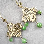 Queen Of Sheba Earrings African Green Agate Hammered Brass Ancient Biblical Queen