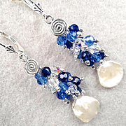 ARIANRHOD Of The Silver Wheel 2 Earrings Cultured Coin Pearls Sapphire-Blue Crystals Celtic Mo