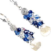 ARIANRHOD Of The Silver Wheel 2 Earrings Cultured Coin Pearls Sapphire-Blue Crystals Celtic ..