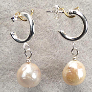 TUDOR PEARL Earrings Silver Hoops Cultured Baroque Pearls Tudor Renaissance Style