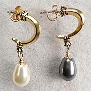 Venus At A Mirror Earrings Black & White Swarovski Crystal Pearls Half Hoops