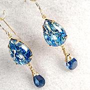 MELUSINE Earrings Deep Blue CZ Briolettes 1950s Vintage Swirled Glass Medieval Water Enchantre