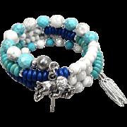 White Buffalo Woman Coil Bracelet Magnesite Turquoise White Howlite Buffalo Charm Lakota ...