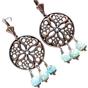 SYBILLA OF JERUSALEM Earrings Peruvian Opal Copper Filigree Chandeliers Medieval Crusader Quee