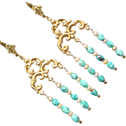 SYBILLA OF JERUSALEM Earrings Mongolian Turquoise Brass Medieval Crusader Queen