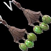 EGYPTIAN GODDESS Earrings Green Czech Art Glass Bronze Lotus Blossom Ancient Egyptian Style