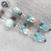 SOLD YEMAYA Earrings Larimar Aquamarine Cultured Freshwater Pearl Silver Atlantis Gem