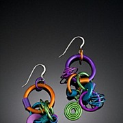 SOLD Anodized Aluminum Large Funky Earrings