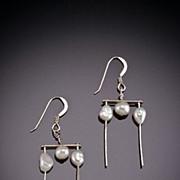 Hand Hammered Sterling Earrings w/ Gemstones, Pearls, or Swarovski Crystals
