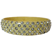 Vintage Cream Celluloid Bangle with Embedded Clear Stones