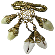 Victorian Goldtone Mesh Pin with 5 Shell Enhanced Drops