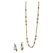 """Vintage  Miriam Haskell 30"""" Cream Lucite Beads With Matching Earrings"""