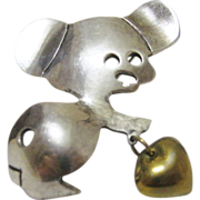 Sterling Silver Mexican Mouse With a Heart Signed Mexico TV-119
