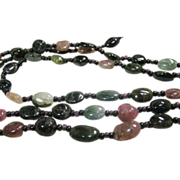 Vintage Triple Strand Natural Tourmaline Beads With Floral Clasp