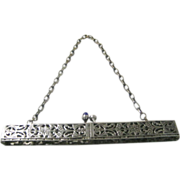 Vintage Silvertone Floral Purse Frame with Sapphire Tone Glass Cabochon