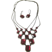 Vintage Avon Multi-Chain Red Crystal Necklace and Earring Set