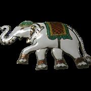 Vintage Sterling Enameled Elephant Pin