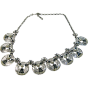 Vintage Hobe Mid Century Silvertone Necklace with Faux Pearls and Sapphire Crystals