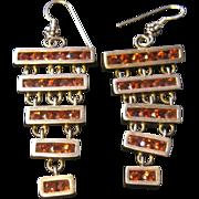Sterling Silver Earrings with 5 Rows of Garnet Encased in Silver