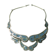Vintage Sterling Enamel And Mother Of Pearl Segmented Necklace