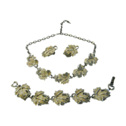 Vintage Sarah Coventry Set of Necklace, Bracelet and Earrings of Silvertone Metal and Cream ..