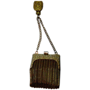 Antique Goldtone Belt Coin Purse with Religious Image Medallion on the Belt hook