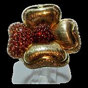 Sonia B Ruby Sapphire and Diamond 14 Karat Flower Ring