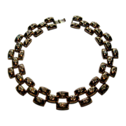 Vintage Forties Rose GoldTone Geometric Necklace with Clear Stones Studded Throughout