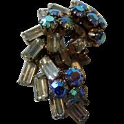 Vintage Signed Austria Baguette and Aurora Borealis Clip Earrings