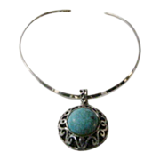 Sterling Turquoise Massive Pendant on Rigid Sterling Necklace
