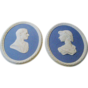 Wedgwood Jasper Ware Queen Elizabeth II and HRH Duke of Edinburgh Wall Plaques Commemorative o
