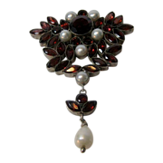 Vintage Sterling (tested) Garnet and Cultured Pearl Pin/Pendant