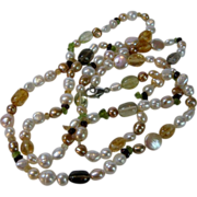 Vintage Cultured Baroque Pearl Necklace Mixed with Citrine Quartz and Amethyst on a Sterling .