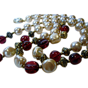 Vintage Carolee Signed Necklace Decorated With Round and Baroque Faux Pearls and Cranberry ...