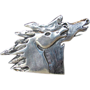 Sterling Silver Artist Signed Horses' Head Action Pin