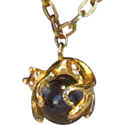 """Cat Reclining on a Crystal Ball on a 24"""" Chain"""