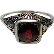 Sterling Siver Deco Ring With Checkerboard Cut Garnet