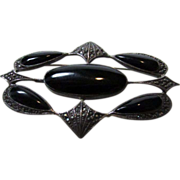 Sterling Silver Onyx and Marcasite Nouveau Pin