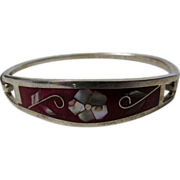 Sterling Silver Taxco Bangle Decorated With Red Enamel and MOP Accents