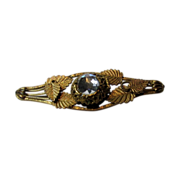 Victorian Gilt over Brass Bar Pin with Clear Crystal Stone Center