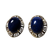14 Karat Gold Greek Key Earrings with Lapis Lazuli Stones