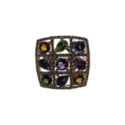 14 Karat Yellow Gold Diamond Ring with Amethyst, Citrine, Peridot, Pink Topaz and Iolite